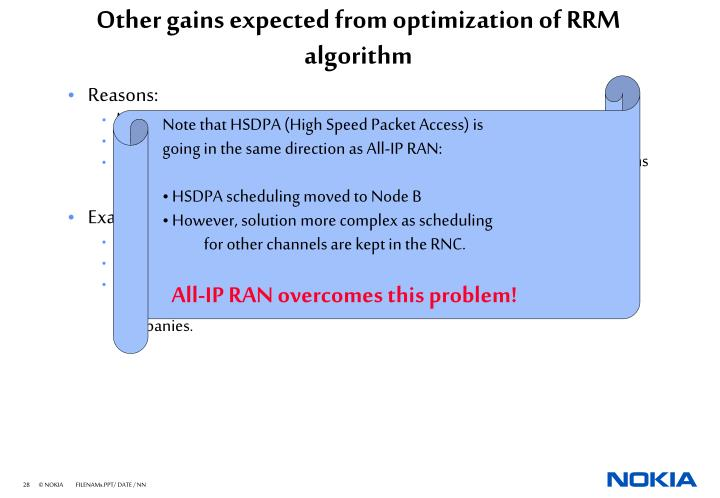 Other gains expected from optimization of RRM algorithm
