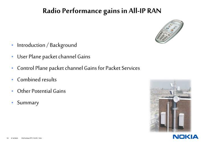 Radio Performance gains in All-IP RAN