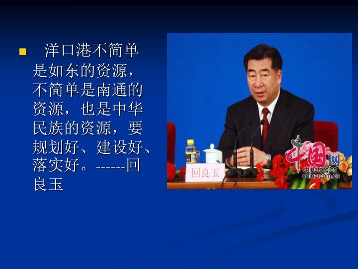 洋口港不简单是如东的资源,不简单是南通的资源,也是中华民族的资源,要规划好、建设好、落实好。