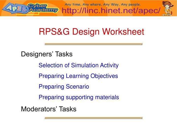 RPS&G Design Worksheet