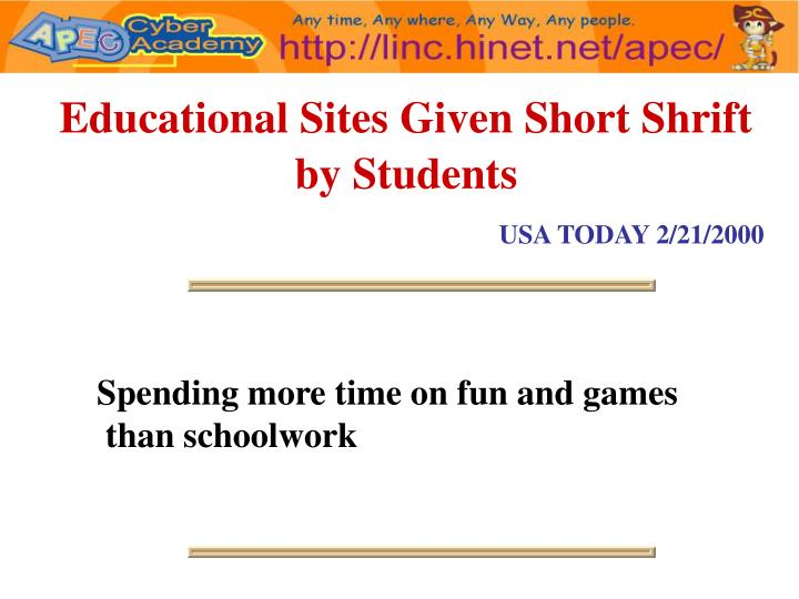 Educational Sites Given Short Shrift by Students