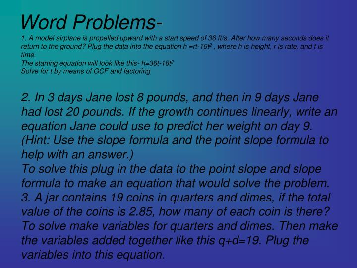 Word Problems-
