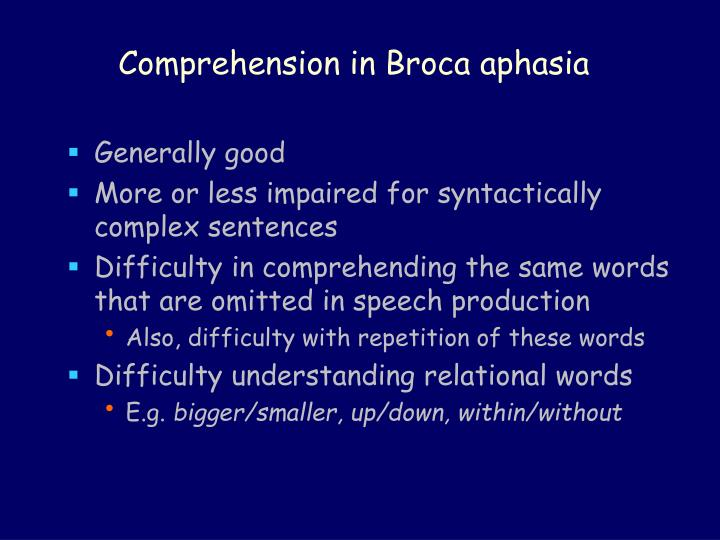Comprehension in Broca aphasia