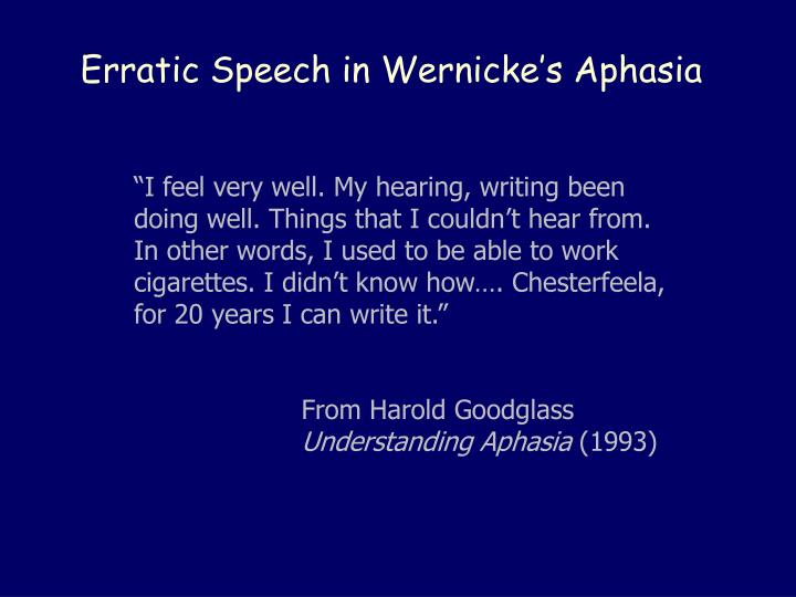 Erratic Speech in Wernicke's Aphasia