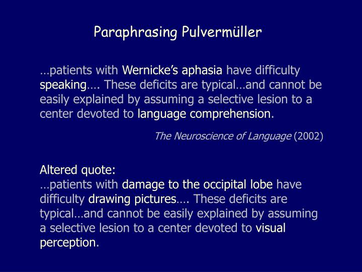 Paraphrasing Pulverm