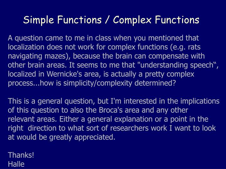 Simple functions complex functions