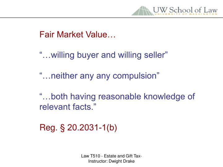 Fair Market Value…