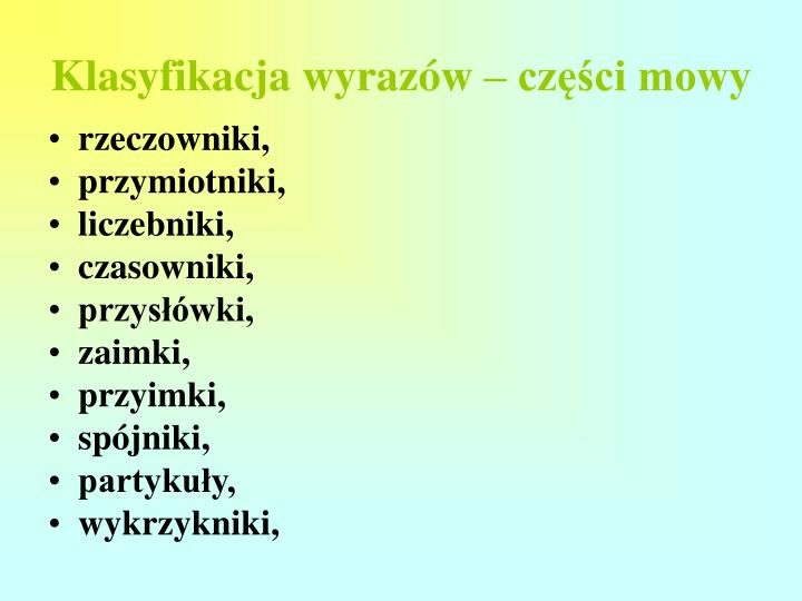 Klasyfikacja wyrazów – części mowy