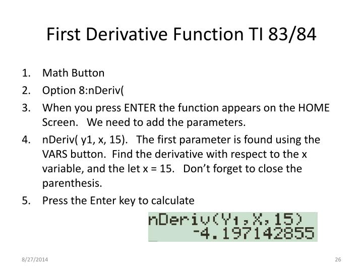 First Derivative Function TI 83/84