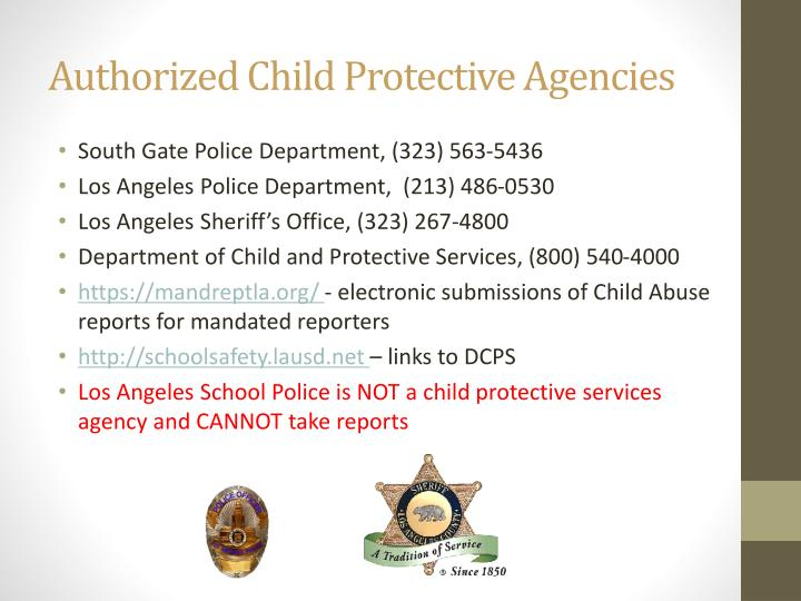 Authorized Child Protective Agencies