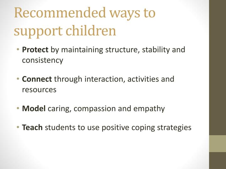 Recommended ways to support children