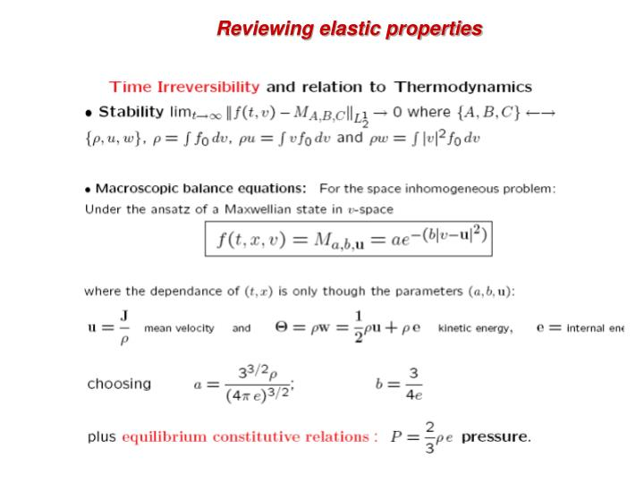 Reviewing elastic properties