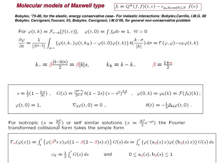 Molecular models of Maxwell type