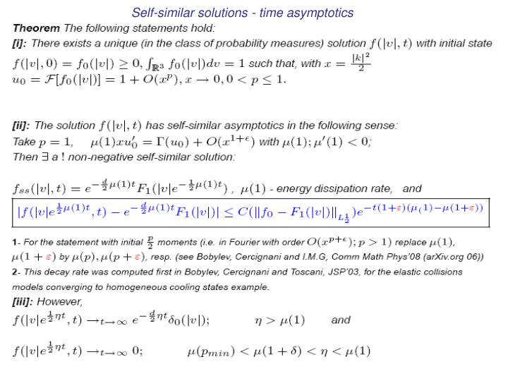 Self-similar solutions - time asymptotics