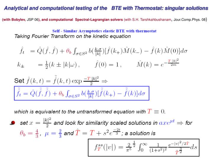 Analytical and computational testing of the   BTE with Thermostat: singular solutions