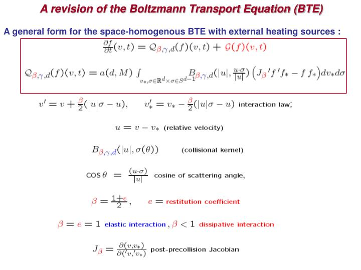 A revision of the Boltzmann Transport Equation (BTE)