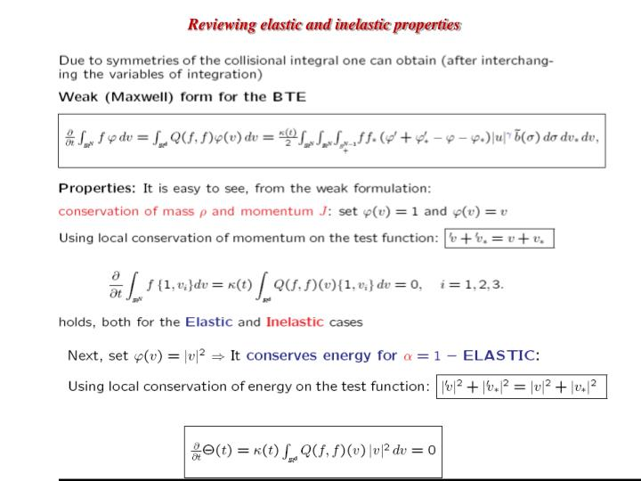 Reviewing elastic and inelastic properties