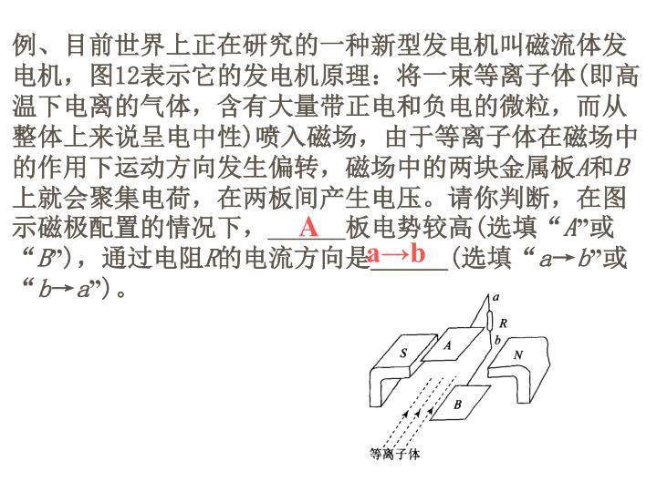 例、目前世界上正在研究的一种新型发电机叫磁流体发电机,图