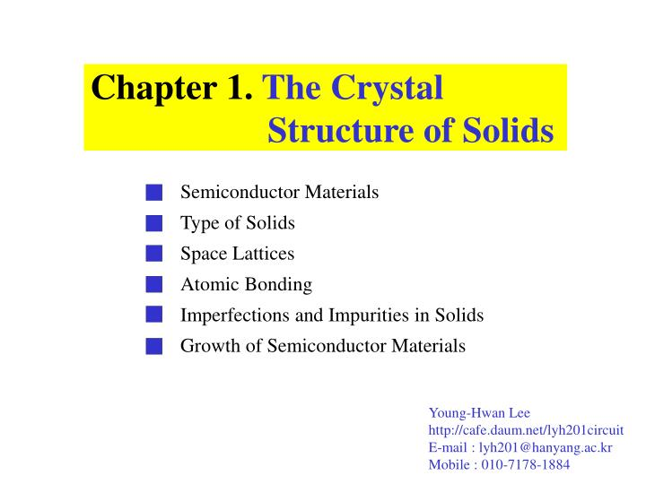c hapter 1 t he c rystal structure of s olids