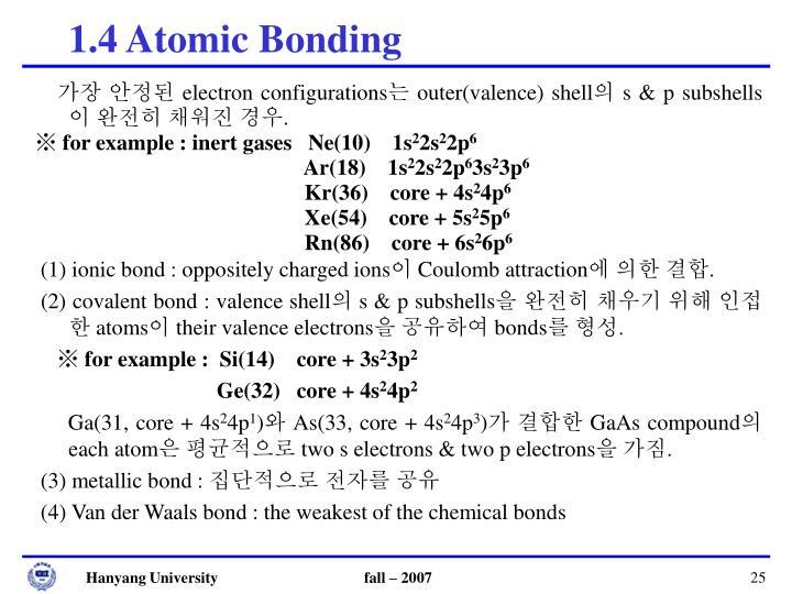 1.4 Atomic Bonding