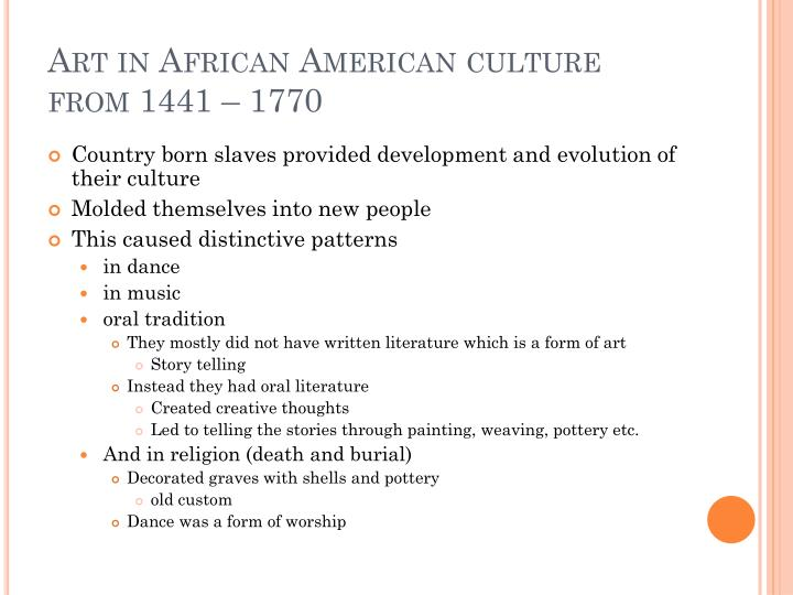 Art in African American culture from 1441