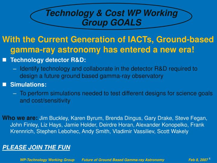 Technology & Cost WP Working Group GOALS