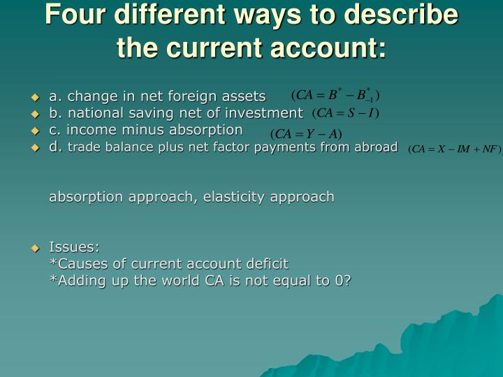 Four different ways to describe the current account: