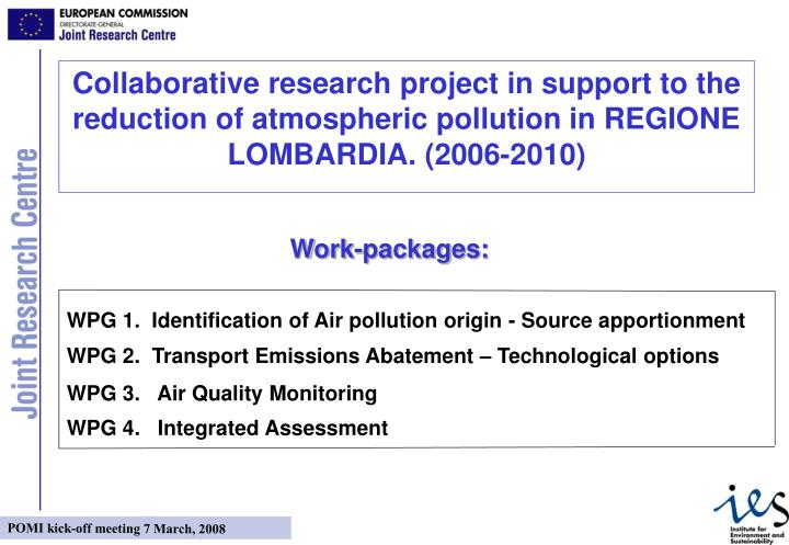 WPG 1.  Identification of Air pollution origin - Source apportionment