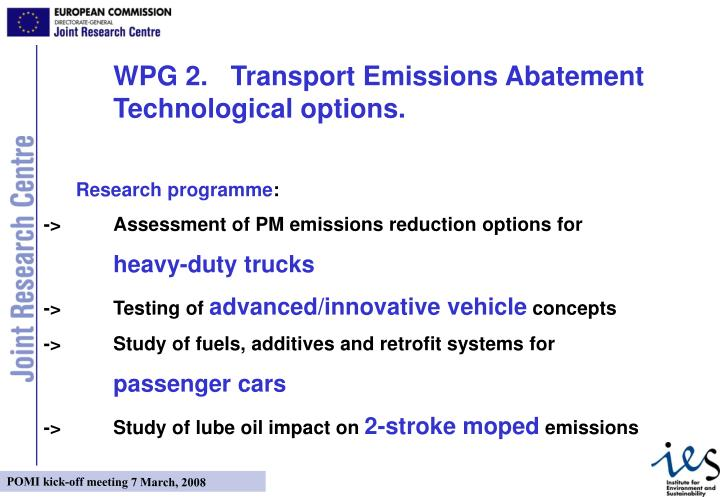 WPG 2.   Transport Emissions Abatement  Technological options.