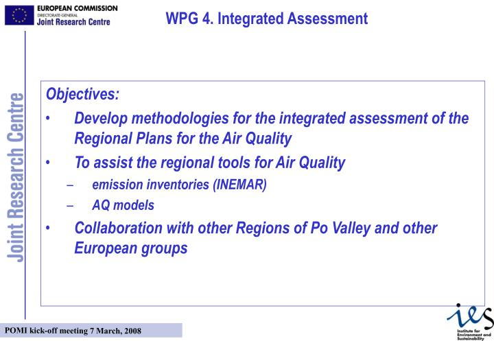 WPG 4. Integrated Assessment