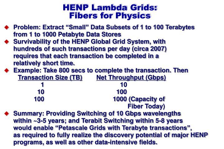 HENP Lambda Grids: