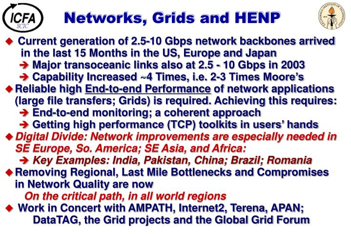 Networks, Grids and HENP
