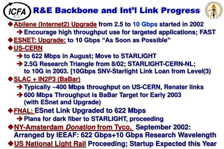 R&E Backbone and Int'l Link Progress