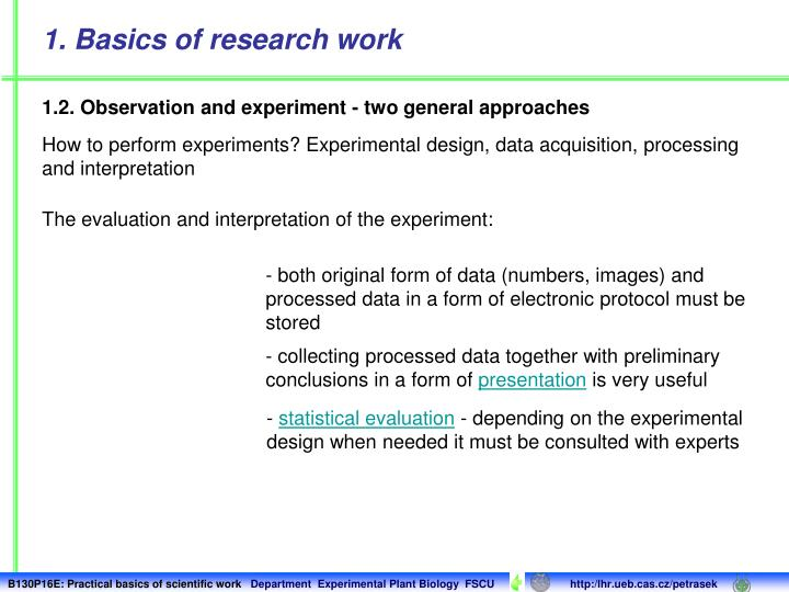 1. Basics of research work
