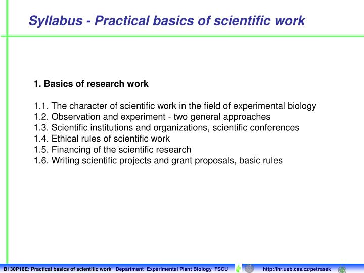 Syllabus - Practical basics of scientific work