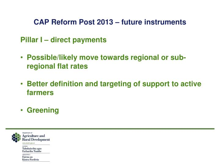 CAP Reform Post 2013 – future instruments