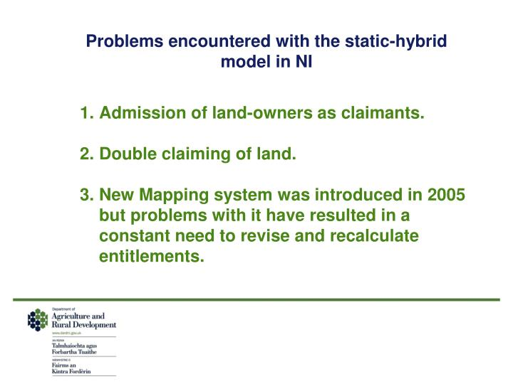 Problems encountered with the static-hybrid model in NI