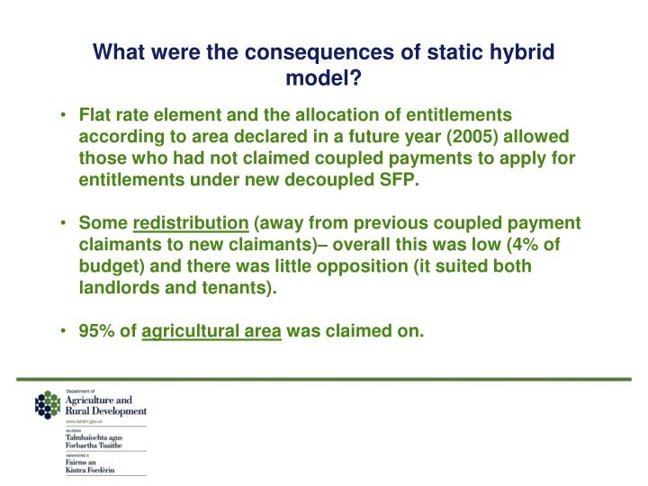 What were the consequences of static hybrid model?