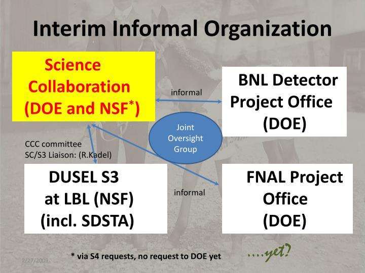 Interim Informal Organization
