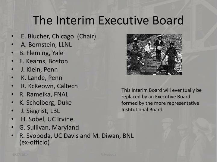 The Interim Executive Board
