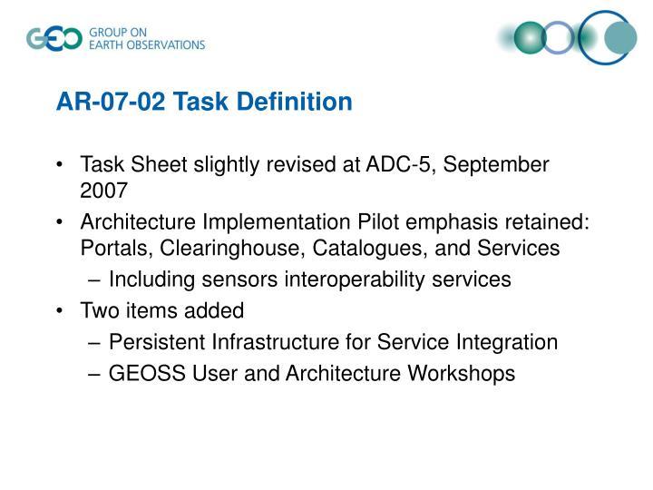 AR-07-02 Task Definition