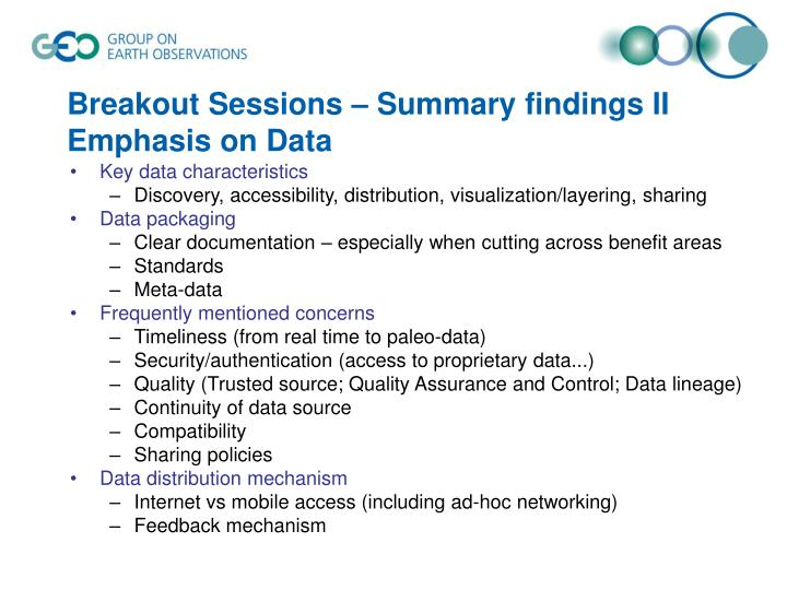 Breakout Sessions – Summary findings II