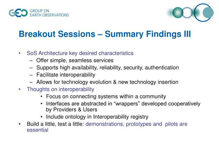 Breakout Sessions – Summary Findings III