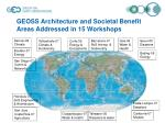 geoss architecture and societal benefit areas addressed in 15 workshops