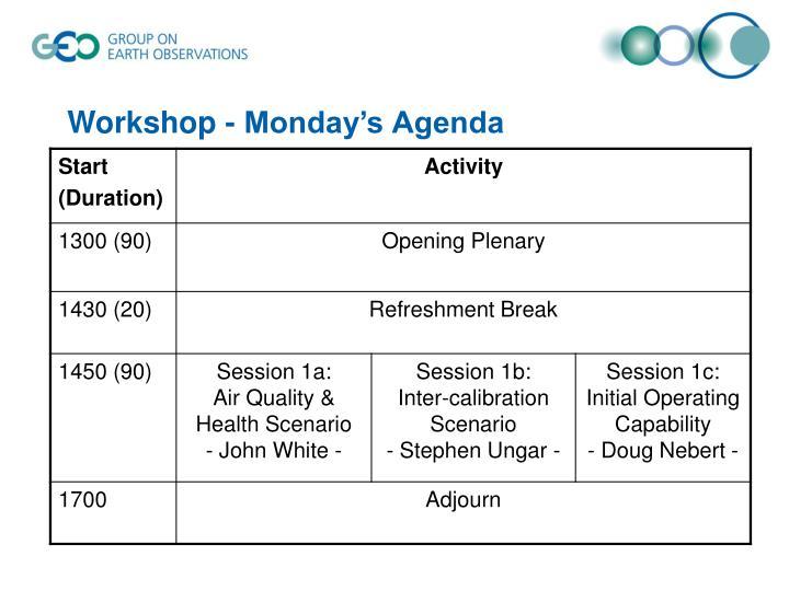 Workshop - Monday's Agenda