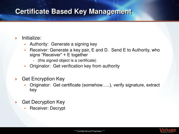 Certificate Based Key Management
