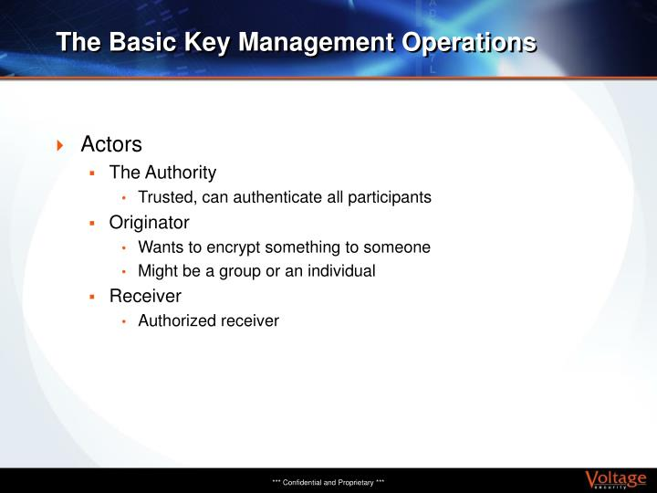 The Basic Key Management Operations