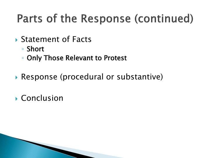 Parts of the Response (continued)