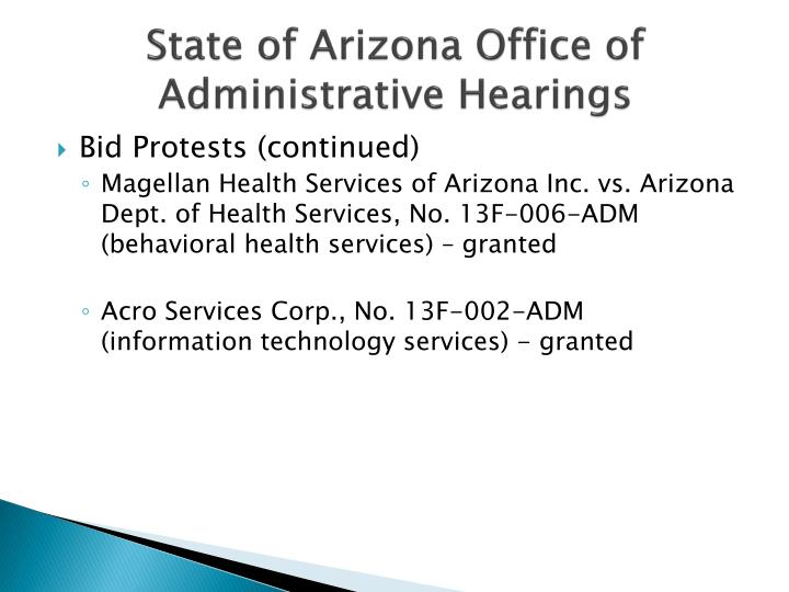 State of Arizona Office of Administrative Hearings