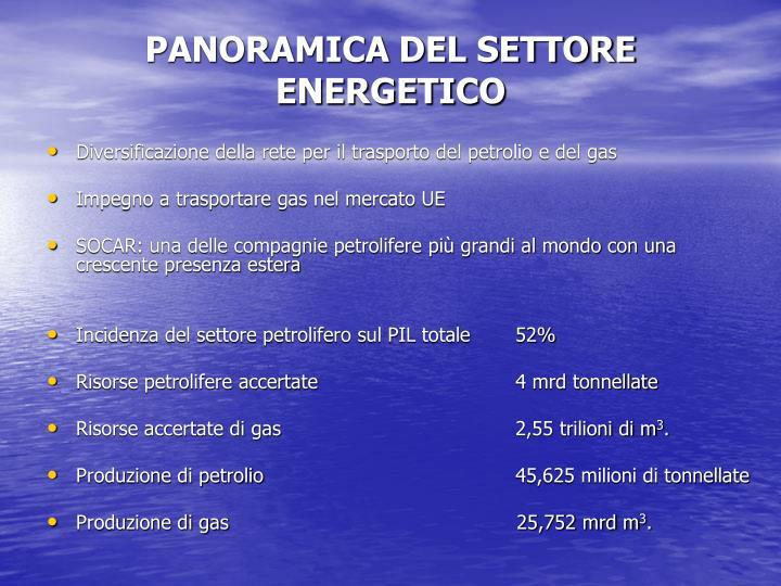 PANORAMICA DEL SETTORE ENERGETICO